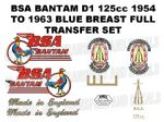 BSA Bantam D1 Blue Breasted 1954 to 1963 Transfer Decal Set